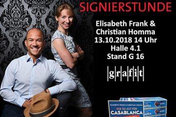 Signierstunde Frankfurter Buchmesse Nie zu alt für Casablanca Kreuzfahrtkrimi Homma und Frank